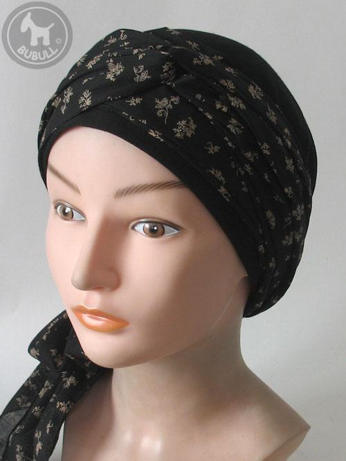 turban noir beige hand scarf ref 1369. Black Bedroom Furniture Sets. Home Design Ideas