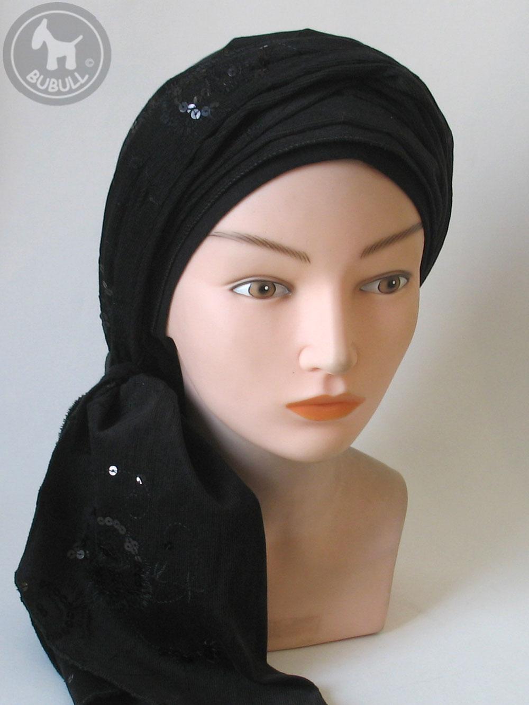 bonnet turban noir ref 1380. Black Bedroom Furniture Sets. Home Design Ideas