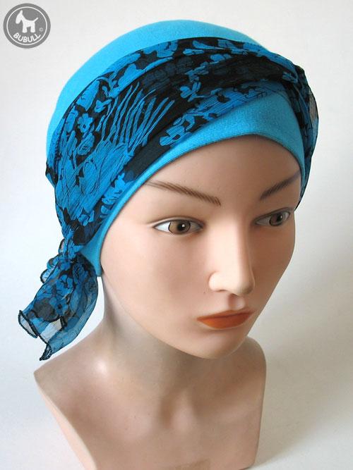 bonnet turban bleu cotton cap ref 1417. Black Bedroom Furniture Sets. Home Design Ideas