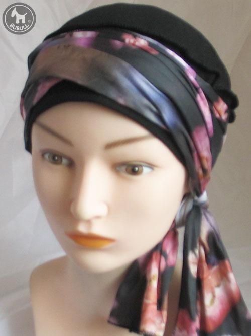 bonnet turban noir rose ref 1808. Black Bedroom Furniture Sets. Home Design Ideas