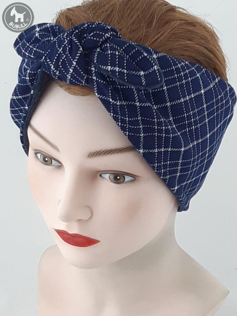 emballage fort grande variété de modèles les ventes chaudes Cache-oreilles Bleu Carreaux